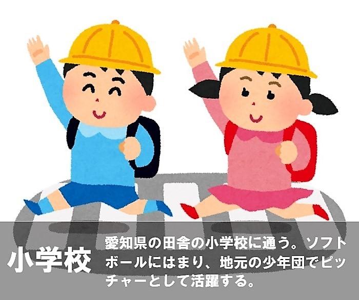 小学校 愛知県の田舎の小学校に通う。ソフトボールにはまり、地元の少年団でピッチャーとして活躍する