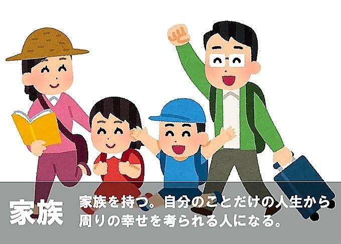 家族 家庭を持つ。自分の事だけの人生から周りの幸せを考えられる人になる