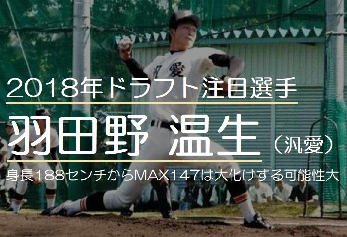 2018年ドラフト注目の羽田野温生(汎愛高校)!身長188センチからMAX147は大化けする可能性が大きい投手
