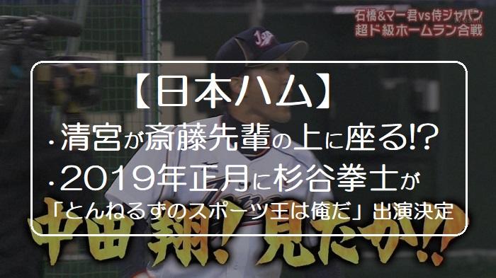 【日本ハム】清宮幸太郎が早稲田先輩の斎藤佑樹の上に座っちゃった!杉谷拳士は2019年正月のリアル野球盤・とんねるずのスポーツ王は俺だに出演決定