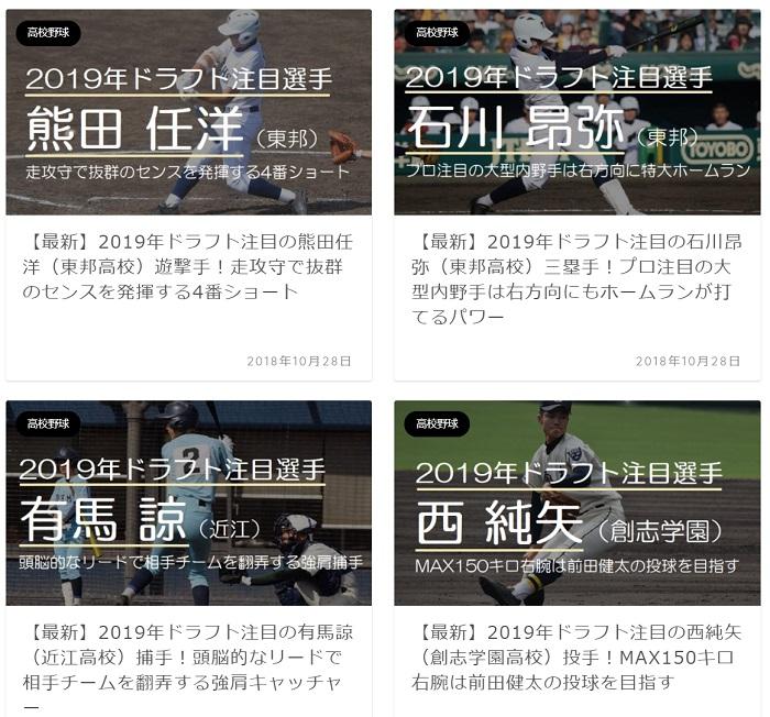 【高校野球情報】2019年ドラフト注目選手がいっぱい